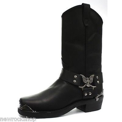 dbf7355b74f Grinders Eagle High Cowboy Biker Black Leather Boots Western by ...