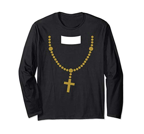 Langarm Priester Kostüm - Lustig billig Halloween Kostüm Priester mit Gold Kreuz Kette Langarmshirt