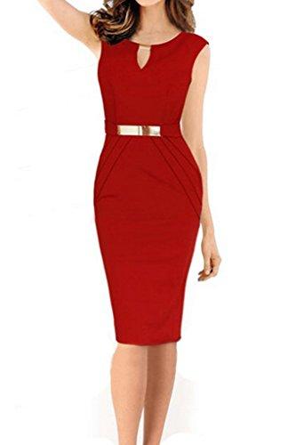 Smile YKK Sommer Herbst Damen Frauen Business Kleid Bodycon Kleid Wickelkleid Party Kleid Cocktailkleid Rot
