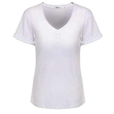 Meaneor Tshirt Top Tshirt Femme Manches Courts Col V Modèle Casual Couleur Pure décoration à fines rayures au col - 42(EU)-XL - Blanc