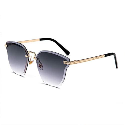 Marine Film posiert weibliche Models Katze Ohr Sonnenbrille Kristall Farbe Sonnenbrille New Frameless Bunte Sonnenbrille Brille (Farbe : Black)
