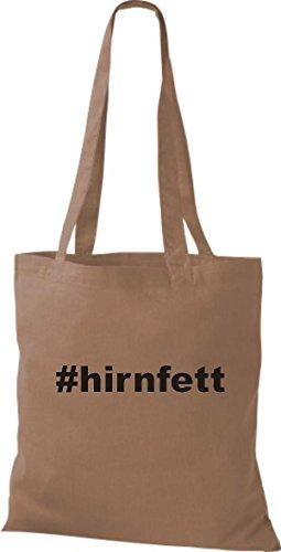 Shirtstown Stoffbeutel hashtag # hirnfett hellbraun