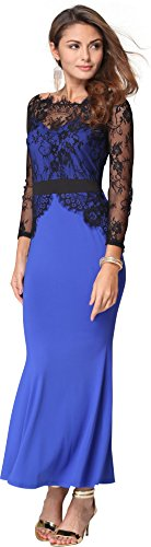 Jeansian Femmes Fashion Sexy Lady Lace Robe Longue Womens New Lace Flower Long Dress WHS004 blue