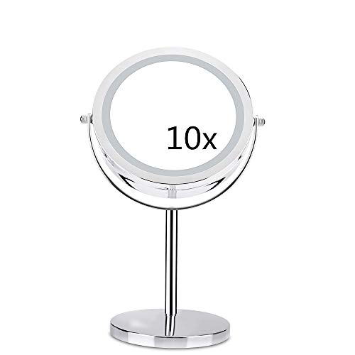 Aoforz-uk 10X Vergrößerungs Kosmetikspiegel Mit LED-Licht 360 Grad-umdrehung Doppelseitige Metall Desktop Kosmetische Eitelkeit