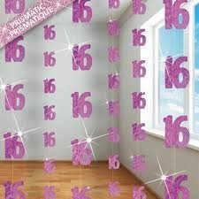 16TH BIRTHDAY HANGING DECORATION (NEW UNIQUE PINK hol) by Every-occasion-party-supplies (Birthday Party 16th Supplies)