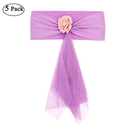 LUOEM 5st Organza Stuhl Schärpe Bogen Schärpe für Hochzeit Geburtstag Bankett Veranstaltungen Supplies (Light Purple)