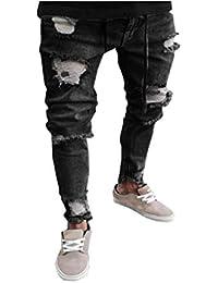 348982a2cd7f Destroyed Denim Herren Jeanshose Schwarz Manadlian Männer Jeans Hose Basic  Stretch Jeanshose Regular Slim