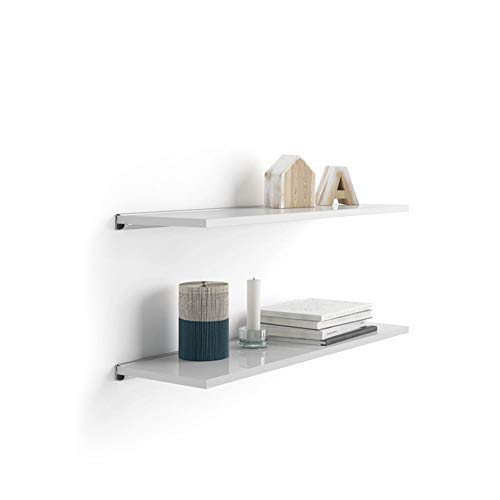 Mobili fiver, coppia di mensole evolution 60x15 cm con supporto in alluminio, bianco lucido, 60 x 15 x 2 cm