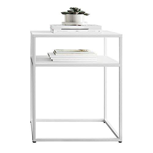 DEO Table d'appoint Table de chevet Table de nuit avec fer en métal pour la chambre Salon Terrasse (Couleur : NOIR)