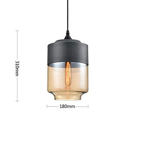 Moderne minimalistische Restaurant Bar Kronleuchter nordeuropäischen und amerikanischen Stil Wohnzimmer, Schlafzimmer, Kleidung Geschäft Single Head Glaslampe Kreative Persönlichkeit,Black,18 * 31cm Instal Kit