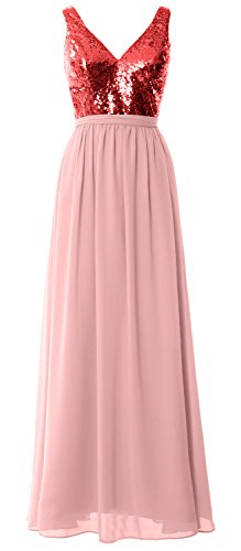 MACloth Women Straps V Neck Sequin Maxi Bridesmaid Dress 2017 Simple Prom Gown (Custom Size, Red-Blush Pink) (Chiffon Blush Sheer)