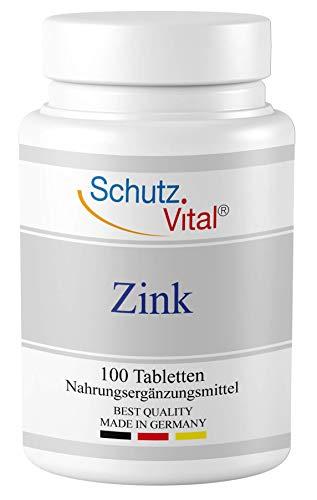 Zink von Schutz-Vital® - 25mg - Im 200 Tage-Vorrat - 100 Tabletten (hochdosiert) - GMO Frei, Lactosefrei, Zuckerfrei, Glutenfrei, Vegan - Hergestellt in Deutschland