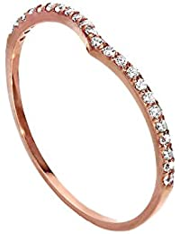9ct Rose Gold & Clear CZ Crystal Wishbone Half Eternity Stacking Ring Size I-U