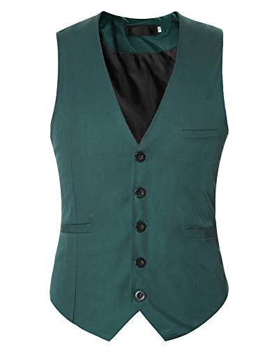 Homme Gilet Costume Causual sans Manches Bouton V-Neck Couleur Unie Veste Vert M