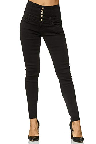 Elara Damen Stretch Hose | High Waist Jeans| Skinny | hoher Bund | Slim Fit | Chunkyrayan Y6109 Black 36