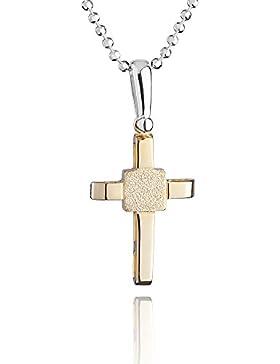 fish - Jungen, Mädchen-Silberkette 925 Sterlingsilber Kreuz Anhänger vergoldet