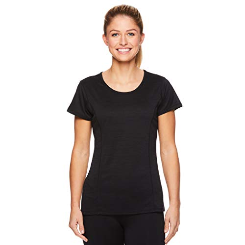 HEAD Damen Studio Kurzarm Workout T-Shirt - Marled Performance Rundhalsausschnitt - schwarz - X-Groß -