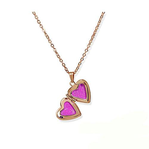 Adisaer Medaillon Herz Halskette Frauen Rosegold Trauung Amulett Zum Öffnen mit Kette Rose Rot Klein Jahrgang Anhänger Für Damen