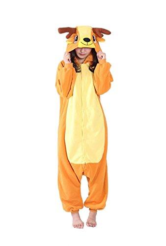 Honeystore Jumpsuit Sika-Hirsch Fasching Halloween Kostüm Sleepsuit Cosplay Pyjama Schlafanzug Erwachsene Unisex Tier Onesize (Luigi Mario Kleinkind Kostüme Und Halloween)