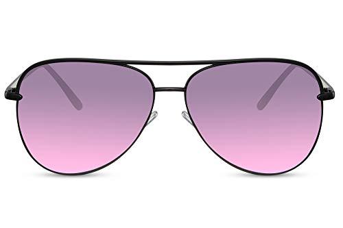 Cheapass Piloten-Sonnenbrille Schwarz Gradient-Linsen UV-400 Flieger-Brille Hochwertig Metall Damen Frauen