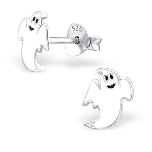 Weiß Ghost Halloween Sterling Silber Ohrstecker 9mm