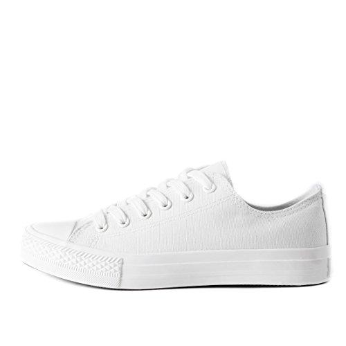 Klassische Unisex Damen Herren Schuhe Low High Top Sneaker Turnschuhe Weiß