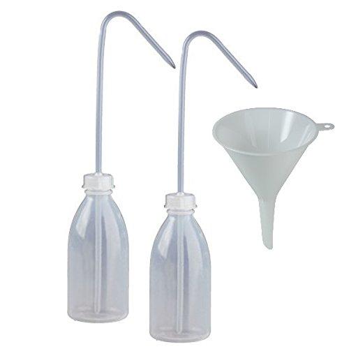 2 x Laborflasche Spritzflasche 250 ml Dosierflasche aus Kunststoff BPA frei - made in Germany - inkl. Einfülltrichter