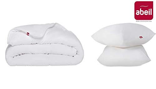 Abeil Kit Bettdecke 300 g/m², 240 x 220 cm, 2 Kissenbezüge 60 x 60 cm, Polyester, Weiß, 220 x 240 cm