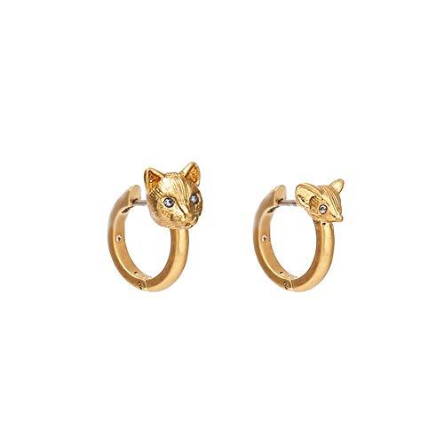 Gyfdjh Mode Persönlichkeit goldene Tier Katze und Ratte asymmetrische Ohrringe, Frauen Modeschmuck Dekor niedlichen Tier Maus Katze Schwanz baumeln Haken Ohrringe - Maus