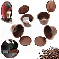 4Pcs/Set Coffee Capsule With 1PC Plastic Spoon Refillable Coffee Capsule 200 Times Reusable Compatible For Nescafe Dolce Gusto