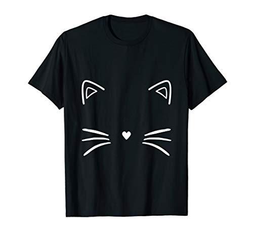 Lustig Süß Tier Halloween Kostüm Katzengesicht T-Shirt (Süße Tier Kostüm Frauen)