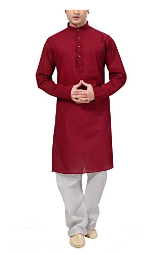 Ishin Cotton Red Wedding Wear Festive Wear Casual Wear Party Wear Bollywood Solid New Collection Latest Design Trendy Men's Kurta Pyjama (Pajama) Set  available at amazon for Rs.799