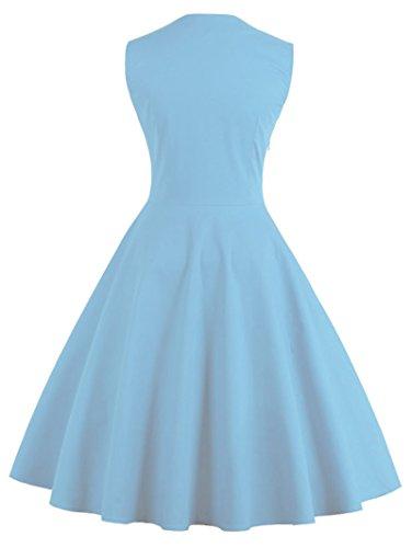 VERNASSA 50s Retro Kleider, Damen Vintage 1950er A-line Baumwoll Swing Kleid für Rockabilly Evening Party Cocktail, Mehrfarbig, S-Plus Größe 4XL 1357-Blau