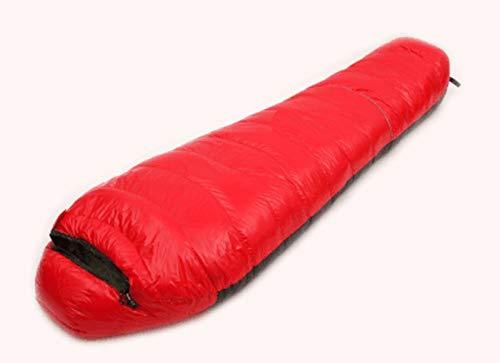 JSJDFPDC 1200 G/1500 G/1800 G/2000 G Daunenschlafsack Outdoor Ultralight Bergsteigen Camping Schlafsack füllen Mumie Stil, Rot 1800G
