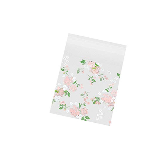 Cdet 100x Plastic Bag Transparent Flat Bag Plastic Bags Self Adhesive Rose OPP Bags for Sugar Chocolate Lollipop Cookies, Nice Accessories from Bakery or Dessert Shop/DIY Size 7 x 7cm+3cm