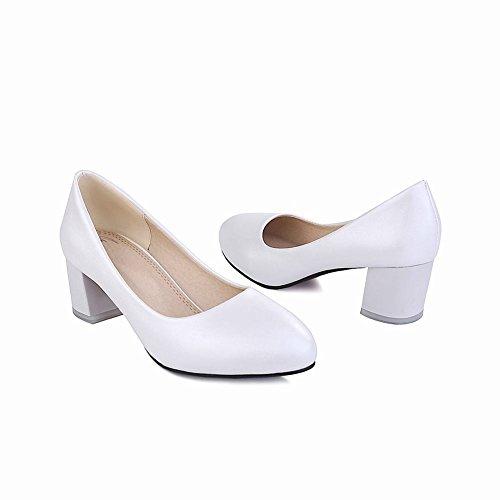Mee Shoes Damen bequem runder toe chunky heels Geschlossen Pumps Weiß