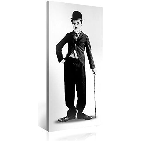 Gallery of Innovative Art – Charly Chaplin – 100x50cm – Larga stampa su tela per decorazione murale – Immagine su tela su telaio in legno – Stampa su tela Giclée – Arazzo decorazione murale
