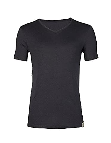 RJ Traditional Bodywear 37-024 Men's The Good Life Black Lyocell Cotton Short Sleeve Top Large