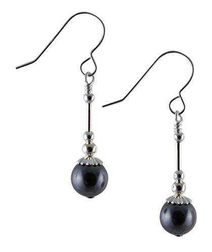 Grigio scuro swarovski perla di vetro orecchini pendenti in argento sterling con scatola regalo