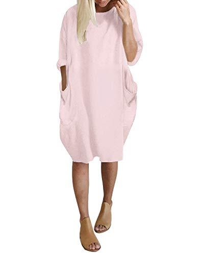 Kleid Rundhals Lange Oberteile Mit Tasche Oversize Bluse Tops Plus Größe Rosa EU 36/Etikettgröße S ()