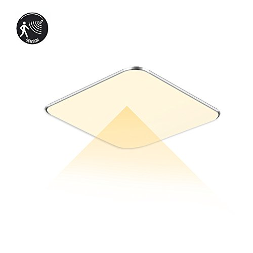SAILUN 12W Ultra mince LED Plafonnier Lampe Moderne Lampe de Plafond pour salon, Cuisine, chambre à coucher, Hôtel - Argenté (12W Radar Capteur Blanc Chaud)