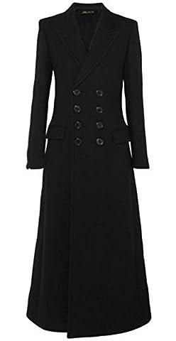 Foluton Damen Winter Herbst Elegant Mantel Klassische Mode Zweireihig Trenchcoat V-Auschnitt Revers Maxi Lang Wollmantel Schlank Kaschmirmantel (Schwarz Belted Wollmantel)