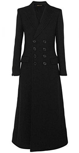 Foluton Damen Winter Herbst Elegant Mantel Klassische Mode Zweireihig Trenchcoat V-Auschnitt Revers Maxi Lang Wollmantel Schlank Kaschmirmantel Oberbekleidung