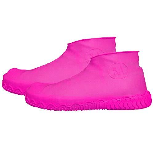 chuhe Regenschutz Silikon-Überschuhe Wasserdicht Rutschfester Silikon Flache Radsportschuhe Regenstiefel(Rosa,M/35-41) ()