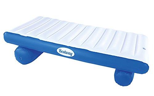 Bestway 43107 - Flotador Extra Confort Luxury Float - Colchoneta hinchable (177 x 94 cm), color blanco y azul - Incluye parche de reparación