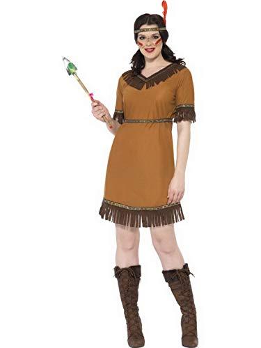 Confettery - Damen Frauen Indianer Ureinwohnerinnen Squaw Kostüm mit Kleid, Gürtel und Stirnband, perfekt für Karneval, Fasching und Fastnacht, S, ()