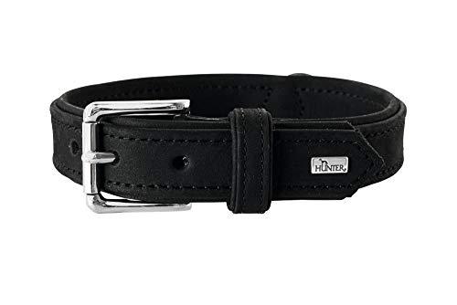 HUNTER ROLLING HILLS Halsband für Hunde, Leder, Nubukleder, robust, samtartig, 50, schwarz -