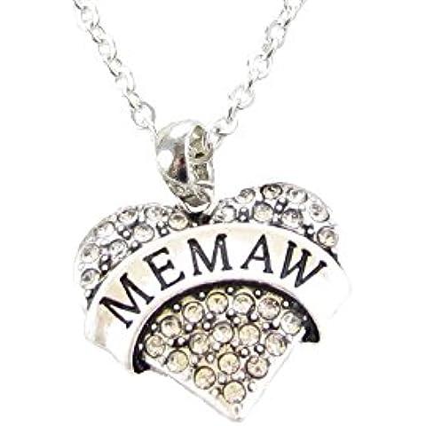Memaw placcato argento con cristalli, a forma di cuore Family Gift-Collana