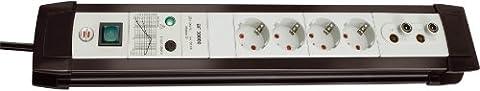 Brennenstuhl 1156050083 Premium-Line Überspannungsschutz 30.000 A 4-fach 3 m H05VV-F 3G1,5 Koax (Antenne), schwarz /