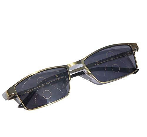 Rechteckige Farblesebrille, UV-beständige Zoomlinsen, Edelstahlscharniere, Sonnenlesebrille,+2.5